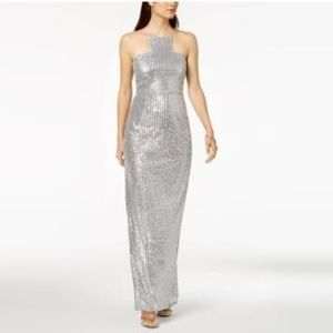 Silver Sequin Cutaway Gown Halter Maxi Evening Drs